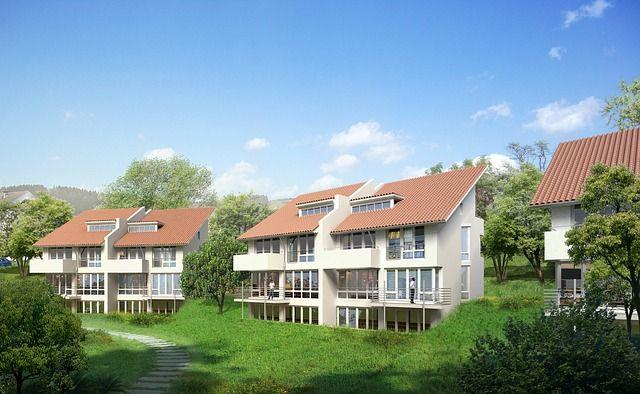 Mehrere Doppelhäuser in einem Wohnviertel