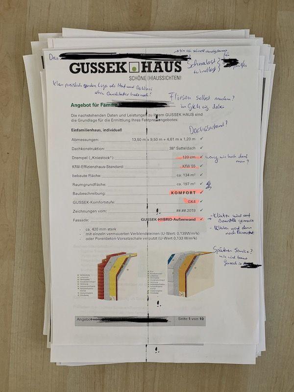 Unterlagen des Fertighausanbieter Gussek