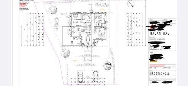 Die Skizze eines Bauplans