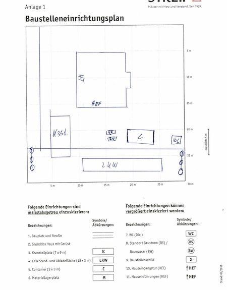 Ein Baustellenplan eines Steif Hauses