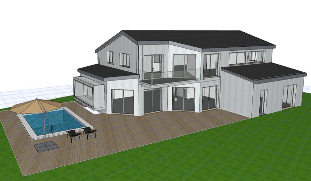 Sehr gute Architektenhaus-Planung. Fertighaus mit Pool